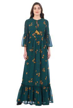I this Ruffle floral print georgette maxi dress from eShakti Elegant Dresses Classy, Elegant Maxi Dress, Classy Dress, Modest Dresses, Cute Dresses, Casual Dresses, Kids Dress Patterns, Designer Party Wear Dresses, Womens Maxi Skirts