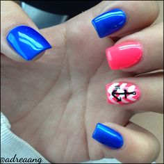 Colorful nails  Acrylic nails Nail designs  Anchor and chevron nails  Blue and pink simple designs