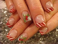 Christmas nails: french manicure with red & white stripes and a golden accent nail ♡