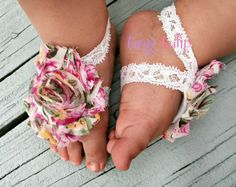 Baby Barefoot Sandals..Floral Print..Newborn by TinyTulipBoutique, $6.95