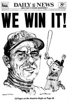 New York Daily News, 1969 World Series Champs Baseball Posters, Baseball Art, Baseball Odds, Baseball Scoreboard, New York Mets Baseball, Ny Mets, Lets Go Mets, Shea Stadium, New York Daily News