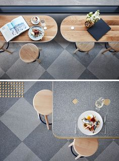 The designers used Terrazzo flooring in this cafe and it has been laid in a traditional checkerboard pattern for added interest.