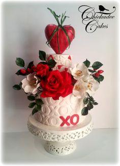 Valentine's Cake with gumpaste flowers
