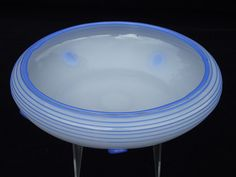 "9¾"" Loetz Ausfuhrung 166 white & blue tango glass bowl"