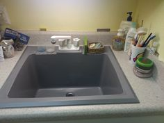 Re-surface your old, stained laundry sink with Rust-oleum countertop paint. Laundry Room Sink, Painting Countertops, Do It Yourself Home, Kitchen Redo, Home Hacks, Humble Abode, Camper Van, Home Renovation, Home Projects