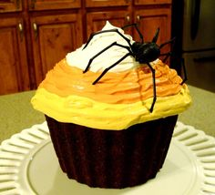 Candy corn chocolate cupcake #Halloween #Dessert