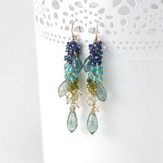 Moss Aquamarine earrings  Dangle earrings beaded clusters of