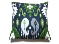 Two Navy Blue Olive Green Chartreuse Gray White Pillow Covers Ikat Design Decorative Toss Throw Accent Covers 16 inch. $40.00, via Etsy.