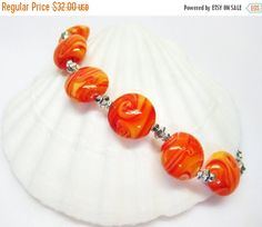40% off Orange Cream Bracelet  Orange Glass by MyGemstoneDesigns