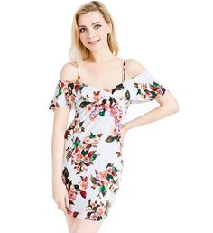 We-buys Women Off Shoulder Floral Print Spaghetti Strap Dress Sexy Off Collar Wrap Dress