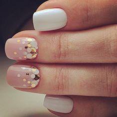 Loving the white gel polish with blush and confetti perfect for a birthday or celebration #sclupturednails #beauty #manicure #gelpolish #gelnails #gel #nails #nailsofinstagram #naildesign #ilovenails #blush #pretty