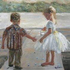 """""""Members of the Wedding Party"""" Childrens' Portrait by Missouri Artist Kay Crain   oil on board12x12 Private Collection."""