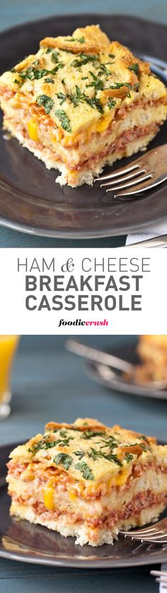 I've made this make-ahead ham and cheese breakfast casserole with my mom for Christmas morning every single year since I was a kid. It wouldn't be Christmas without it! | foodiecrush.com