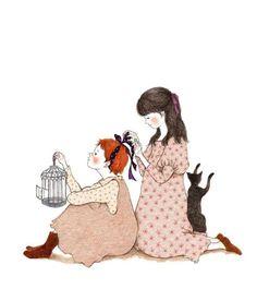 [빨강 머리 앤 모빌 아트 북] : 염색 Ink Illustrations, Cute Illustration, Belle And Boo, Korean Artist, Whimsical Art, Poster, Cat Art, Cartoon Art, Painting & Drawing