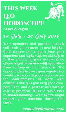This Week Leo Horoscope (18th of July 2016 - 24th of July 2016). Askganesha.com