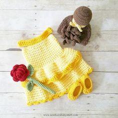 Crochet Baby Dress Copy of Crochet Baby Belle Beauty and the Beast Infant Newbo...