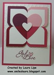 handmade valentine ... love how Laura used a variety of square punches and a corner rounder to create this pattern ... luv the combination of colors too ... Stampin' Up!