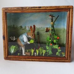 Original Diorama of A Rabbit Gardener with Vegetables and butterflies, Designed and Made by Miss Bumbles Needle Felting, Wool Felting, Butterfly Design, Painted Paper, Crepe Paper, Antique Toys, Wooden Boxes, Rabbit, Handmade Items