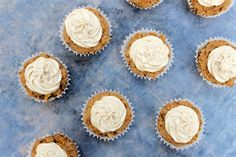 Vegan + gluten-free Carrot Cupcakes with Maple Macadamia Frosting