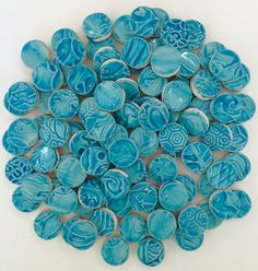100 Turquoise CERAMIC Tiles by ShanCStudio on Etsy