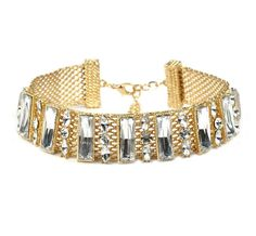 Exquistive women`s crystal stones fashion metal choker necklace in gold and silver color