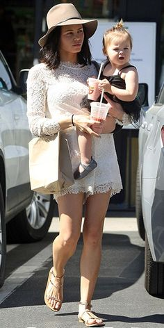 "Jenna Dewan-Tatum running errands with her daughter Everly in L.A. (March 13, 2015), wearing a Savannah Romper by Saylor, a Floppy Brim Fedora from Rag & Bone and a 'Pandora' medium leather bag from Givenchy. #jennadewantatum ""style"