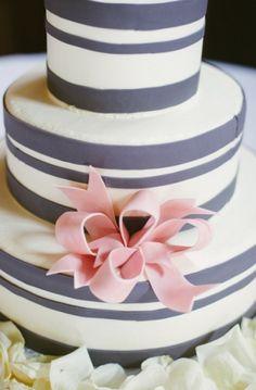 Adorable striped wedding cake!