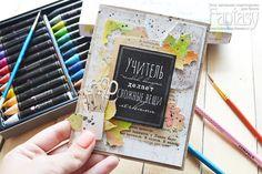 """FANTASY: <u>открытки на мольбертах</u> Как я это делаю:""""Открытка для учителя с акварельными листочками"""""""