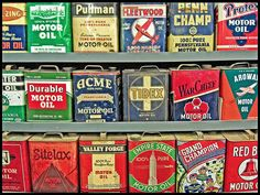 Motor oil can collection. Beautiful graphics