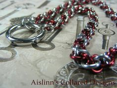 Red and Silver O-Ring JPL Collar by aislinnscollared on Etsy