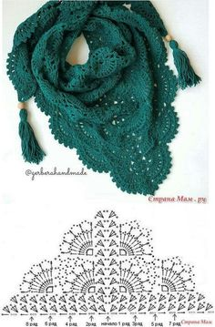 Crochet Shawl Diagram, Crochet Poncho Patterns, Crochet Motifs, Crochet Shawls And Wraps, Crochet Chart, Crochet Scarves, Crochet Clothes, Crochet Lace, Crochet Stitches