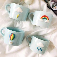 The sky of love creative Japanese ceramic mug Mini household breakfast coffee cup rainbow cup Clay Mugs, Ceramic Clay, Pottery Painting Designs, Pottery Art, Polymer Clay Crafts, Diy Clay, Tassen Design, Cerámica Ideas, Keramik Design