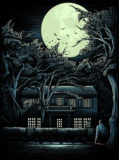 Dark City Gallery - Dan Mumford, The Night He Came Home, Halloween, silkscreen glow in the dark ink print. Halloween Film, Halloween Poster, Halloween Halloween, Horror Art, Horror Films, Dan Mumford, John Carpenter Halloween, 3d Art, Slasher Movies
