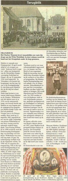 Marken museum brengt artikel over Oranje en Marken in 2009