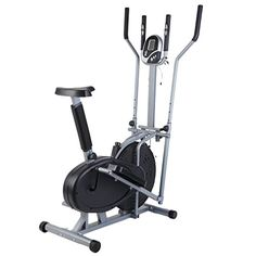 This 2-in-1 workout machine combines functionality of an elliptical cross-trainer and a bike. Forward or backward motion with adjustable resistance. The adjustable tension knob lets you adjust your workout to meet your fitness needs. LCD display monitors your time, distance, speed, and calorie count throughout your total body workout.