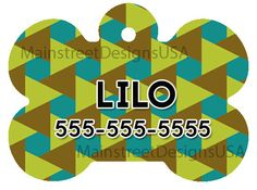Monogram Personalized Dog Pet ID Tag Name Geometric Pattern Triangles Pet Accessory Supply Dog Lover Gift 1 by MainStreetDesignsUSA on Etsy https://www.etsy.com/listing/479805336/monogram-personalized-dog-pet-id-tag