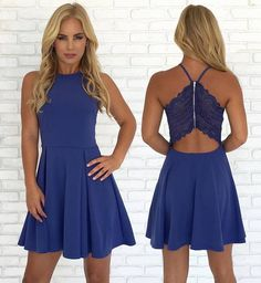 Custom Made Vogue Homecoming Dress 2019 Open Back Blue Cheap Cute Simple Casual Homecoming Dresses Casual Homecoming Dresses, Dresses Short, Dresses For Teens, Simple Dresses, Casual Dresses For Women, Sexy Dresses, Cute Dresses, Dress Outfits, Formal Dresses