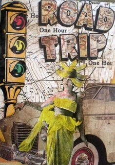road trips, mixed media collage
