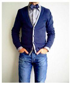 Grey cotton shirt and amazing, blue cardigan, good style