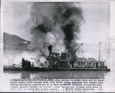1955 Press Photo River Barge Explodes in Chattanooga 1 Dead & 8 Injured