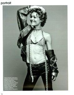 Vanessa Paradis wears the Striped Cotton Spandex Jersey Cross-Back Bra in Marie Claire, France. #AmericanApparel
