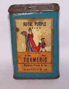 Rare Antique Royal Purple Brand Spice Tin Turmeic Woodson-Prince Alderson,W.VA.