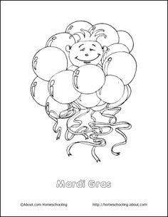 Cartoon Characters Parade on Mardi Gras Coloring Page