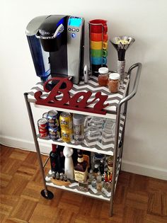 re-purpose / refinish / antique cart with wheels as a coffee bar - yes! I need something like this for all my bottles
