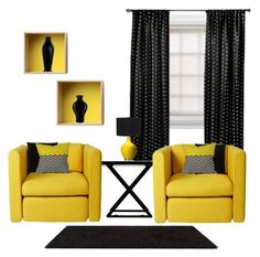 """Black & Yellow III"" by she-kills-monsters ❤ liked on Polyvore featuring interior, interiors, interior design, home, home decor, interior decorating, Graber, Alexandra Von Furstenberg, Wrong for Hay and Kevin O'Brien"