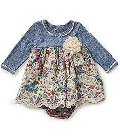 Bonnie Baby Baby Girls Newborn-24 Months Striped Knit to Floral Dress