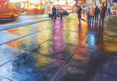 In this step-by-step art video workshop, Paul Jackson demonstrates watercolor techniques to complete an alluring painting of a rainy nighttime cityscape! #watercolour #pauljackson