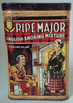 Near mint old pipe major advertising tobacco tin excellent great graphic & color.