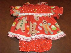 """Cabbage Patch 16"""" Doll Clothes~2 pc. Christmas Gingerbread Boys & Gum Drops Dress and Panties-mj3260 on Etsy"""
