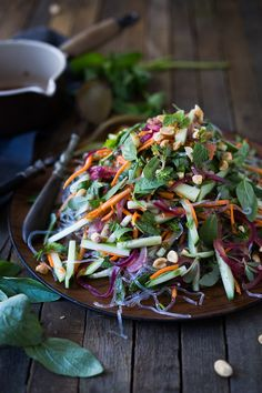 An incredible recipe for Vietnamese Vermicelli Salad w/ Sweet Chili Vinaigrette & Roasted peanuts - bursting with flavor and healthy and light! Vegetarian Recipes, Cooking Recipes, Healthy Recipes, Vietnamese Vermicelli Salad, Asian Recipes, Ethnic Recipes, Incredible Recipes, Sweet Chili, Summer Salads